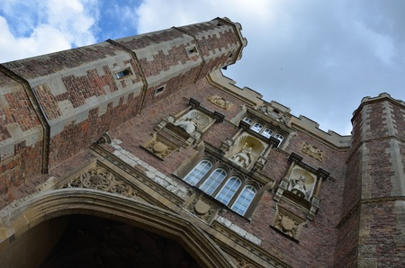 Front of st Johns college cambridge at dramatic angle