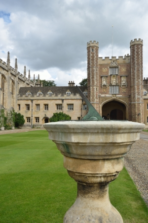 sun dial: St Johns college cambridge with sun dial in foreground