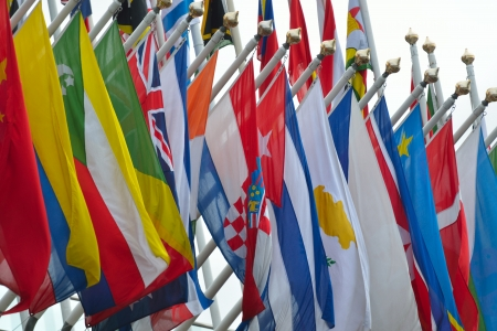 diplomacy: range of national flags Stock Photo