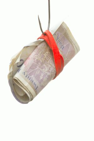 Fish Hook baited with Bank notes Stock Photo - 15553016
