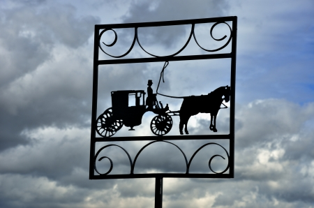 horse and cart: Horse and cart in silhouette