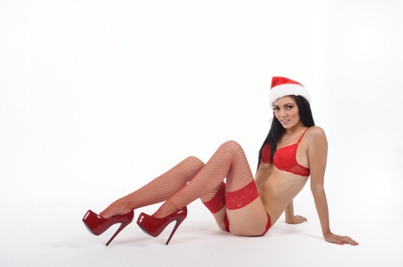 sexy santa in high heels  photo