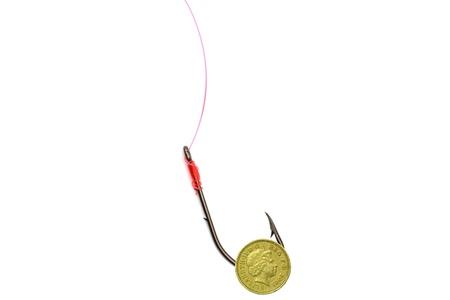 Single Pound Coin on barbed Hook Stock Photo - 16400694