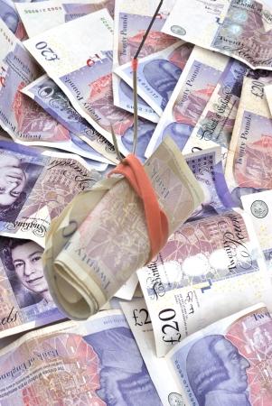 Twenty Pound notes as bait Stock Photo - 16400794
