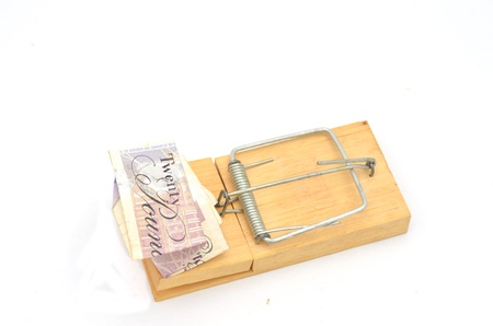Twenty Pound Note folded in Mousetrap Stock Photo