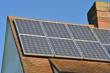 Solar panels of roof photo