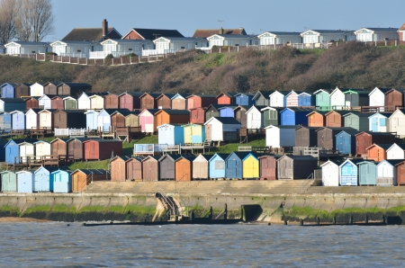 essex: Beach hut and houses and Walton-on-Naze