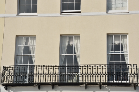 Close up of English town house with Iron Balcony Stock Photo - 17583387