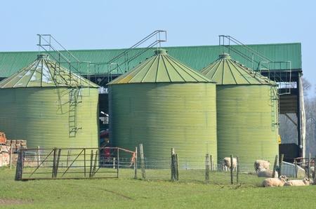 Metal green farm  silos Stock Photo - 18280209