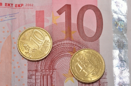 Ten cents on 10 Euro note Stock Photo - 18583187