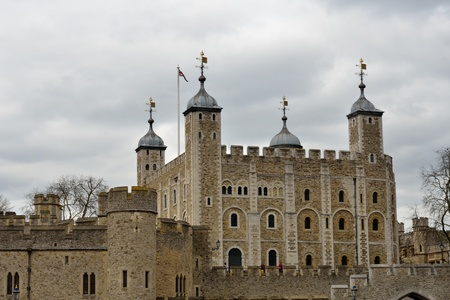 norman castle: Tower of London on Thames