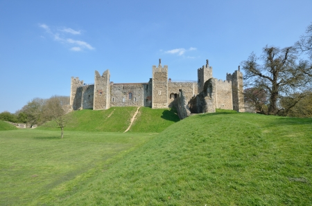 norman castle: Framlingam Castle with Tree Editorial
