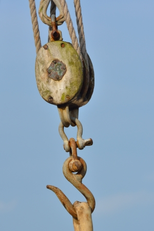 Wooden pulley with Hook photo