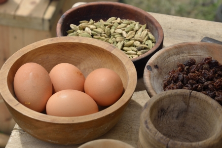 Eggs and food in bowl photo