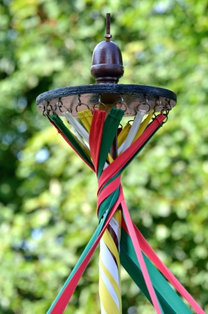 maypole: maypole with twisted ribbons Stock Photo