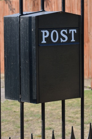 metal post: Back metal post box Stock Photo