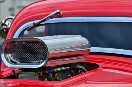 Detail of air intake and windscreen on custom car