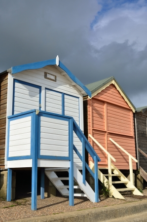 Two English beach huts photo