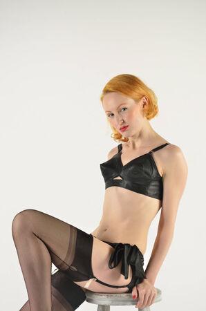 Red head in black  retro underwear photo