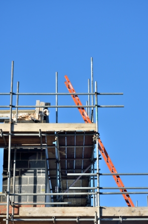 buildingsite: Ladder at angle on building site