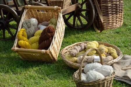 Natural wool and wicker basket