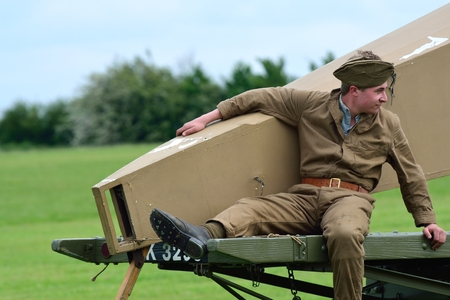 STOWE MARIES  AIRFIELD ESSEX UK FLYING DAY� May 14 2014,  World war one ground crewman