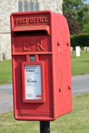 St LAWRENCE  ESSEX UK  17 May 2014–  red post box