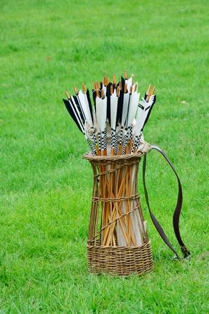 quiver: Antique quiver of arrows Stock Photo