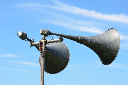 Two large megaphones photo