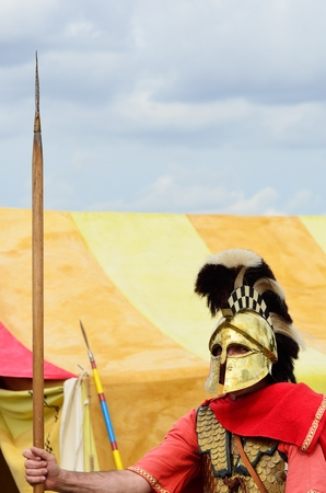 Roman Sentry guarding tent photo