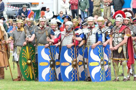 roman soldiers: Military Tattoo  COLCHESTER ESSEX UK 8 July 2014:   Roman soldiers in recreation