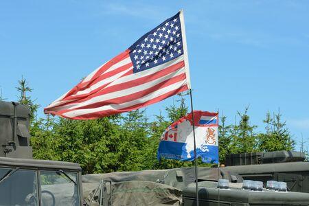 spangled: American flag on vehicle