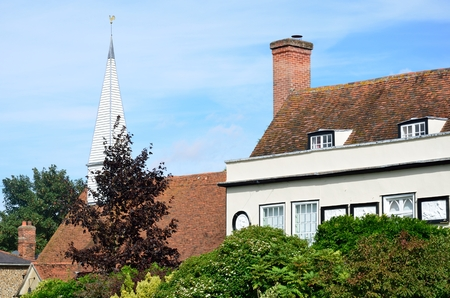 english village: English village house and church