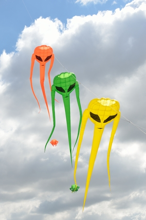 invader: Three space invader kites in line
