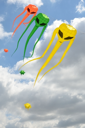 invader: Space invader kites descending Stock Photo