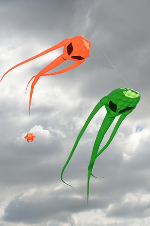 invader: Pair of space invader kites Stock Photo