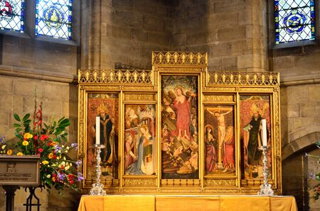 triptych: Large religious panel in cathedral Editorial