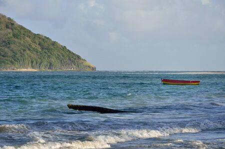 caribbean island: caribbean island and boat