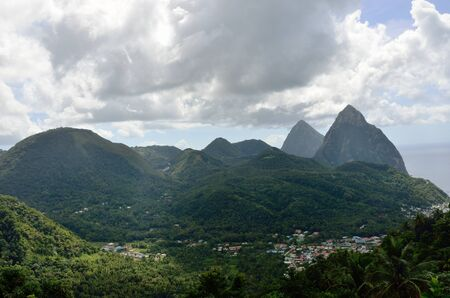 st lucia: Soufreire and the pitons st lucia Stock Photo