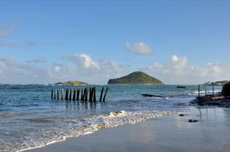 caribbean island: caribbean island seen from shore Stock Photo