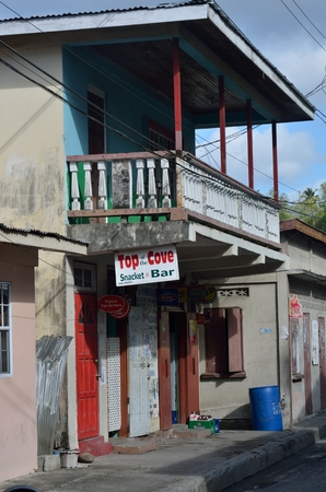 run down: ST LUCIA CARIBBEAN 19  January  2015:  Run down locals cafe in village