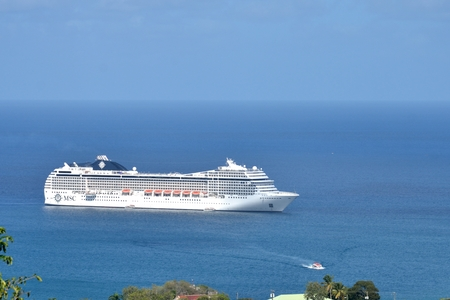 st lucia: CASTRIES ST LUCIA CARIBBEAN: 19  January  2015:  Cruise ship coming into harbour