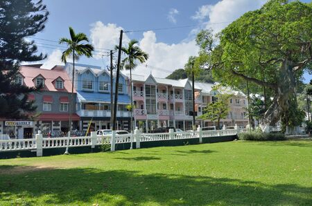 st lucia: CASTRIES ST LUCIA CARIBBEAN 19  January  2015:  Row of government buildings near town square Editorial