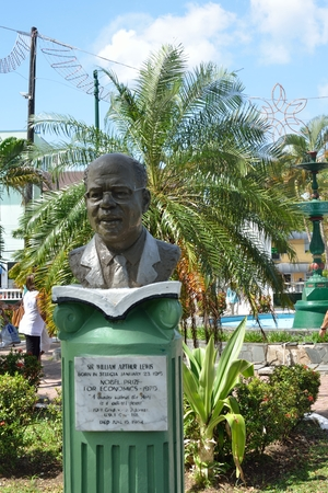 nobel: CASTRIES ST LUCIA CARIBBEAN 19  January  2015:  Bust of Arthur Lewis winner of nobel prize for literature