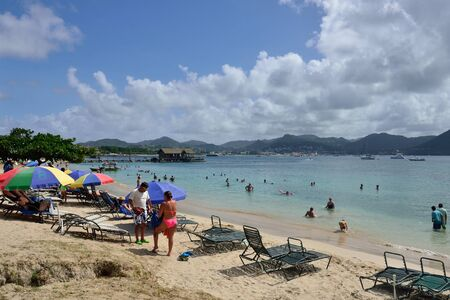 st lucia: ST LUCIA CARIBBEAN 17  January  2015:  Holidaymakers enjoying the beach Editorial