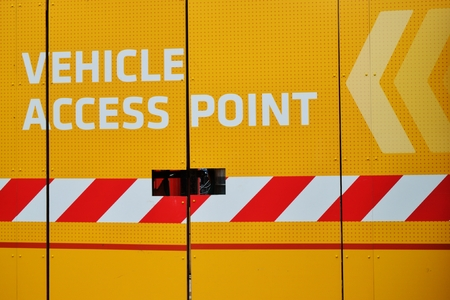 access point: Vehicle access point sign
