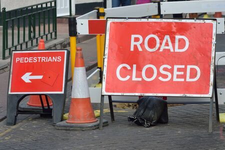 road closed: UK road closed sign