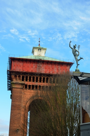 jumbo: Jumbo water tower colchester with Mercury figure in foreground