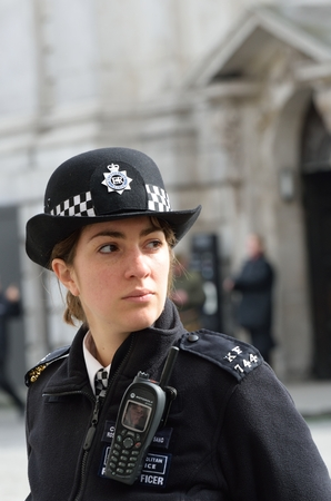 CITY OF LONDON ENGLAND 13 March 2015: Policewoman on duty Editorial
