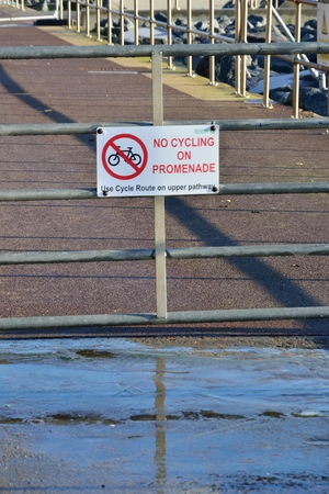 No Cycling on promenade sign photo